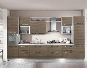 Прямая кухня с пеналом (встроенная духовка) и встроенным холодильником