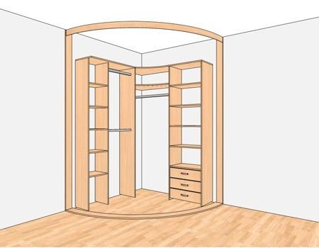 Схема углового радиусного шкафа купе