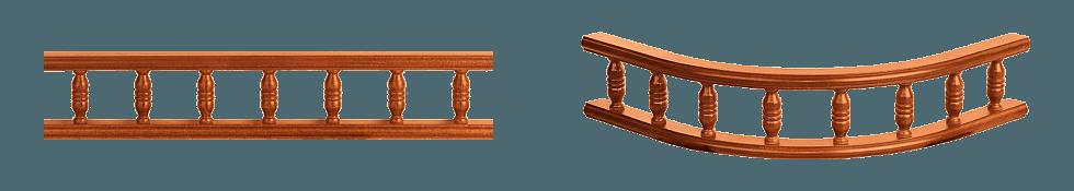 Деревянные балюстрады - прямая (слева) и радиусная (справа)