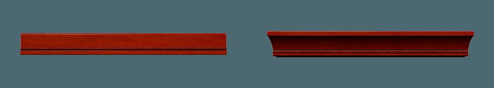 Деревянные фриз нижнего крепления (слева) и верхний карниз (справа)