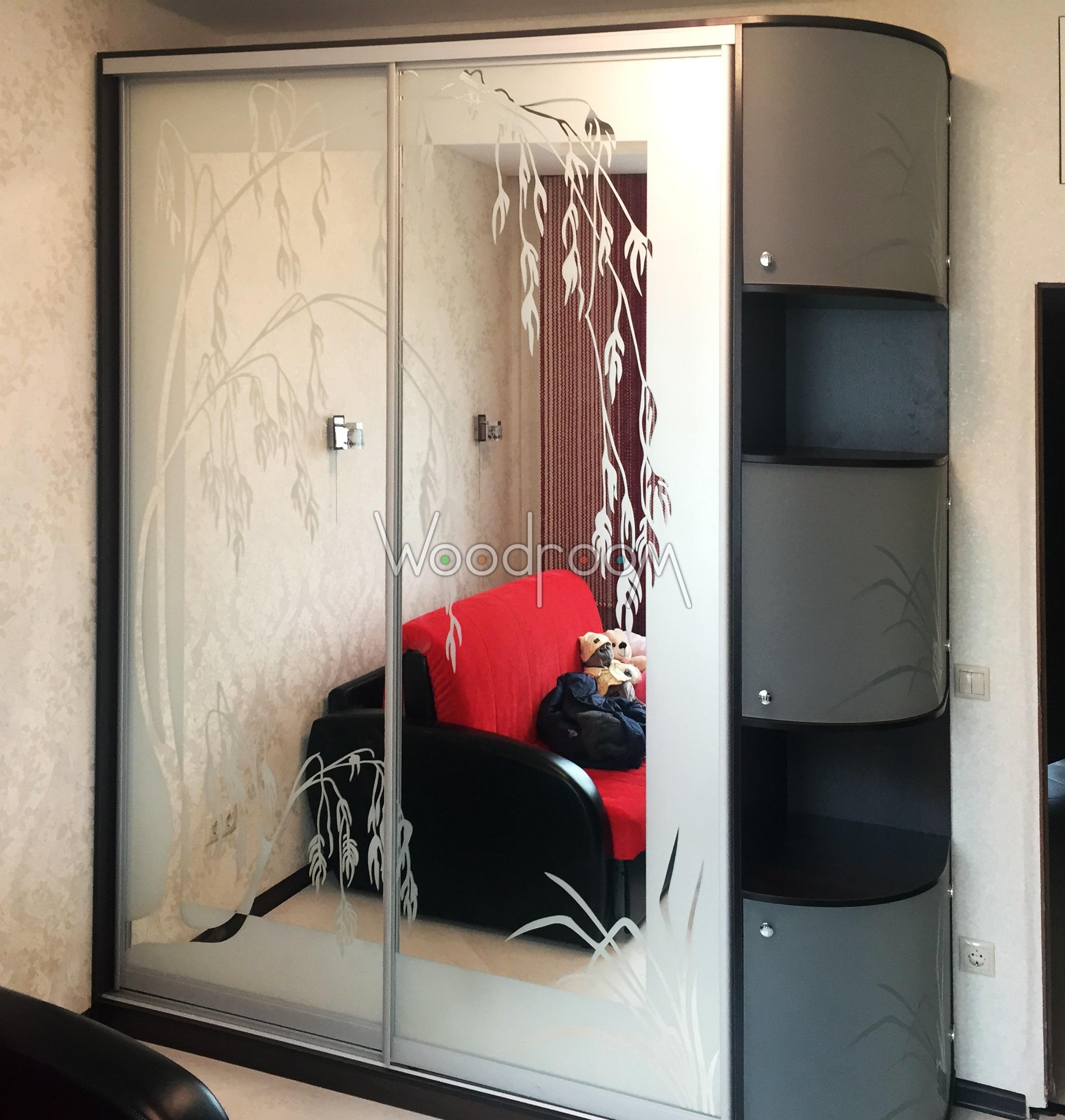 Шкаф купе с пескоструйным рисунком на зеркале и на радиусных стеклянных дверках