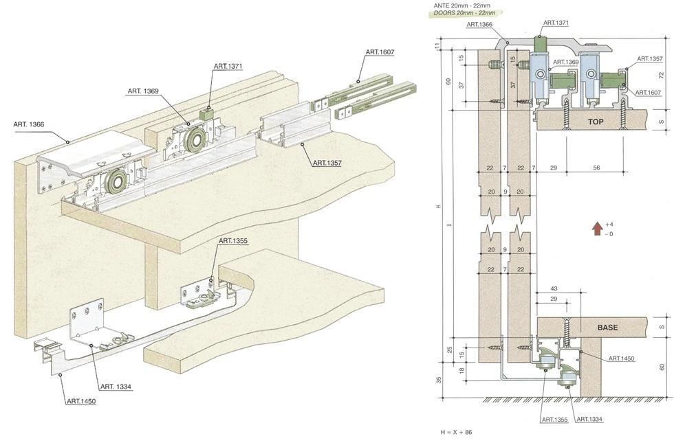 Схема подвесного механизма для дверей купе