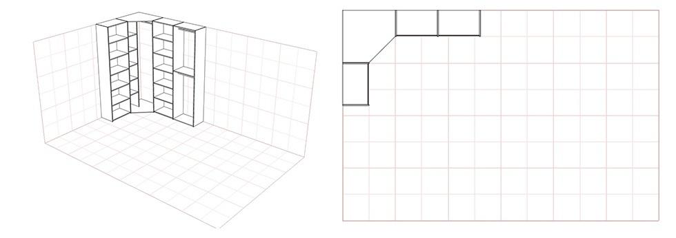 Схема шкафа купе углового с диагональным элементом