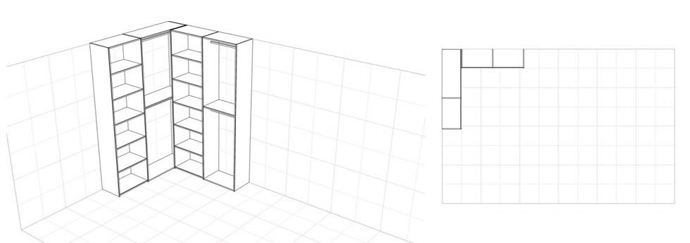 Схема шкафа купе углового с прямым углом