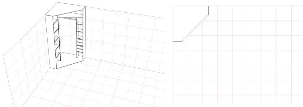 Схема углового шкафа купе с использованием боковых стенок