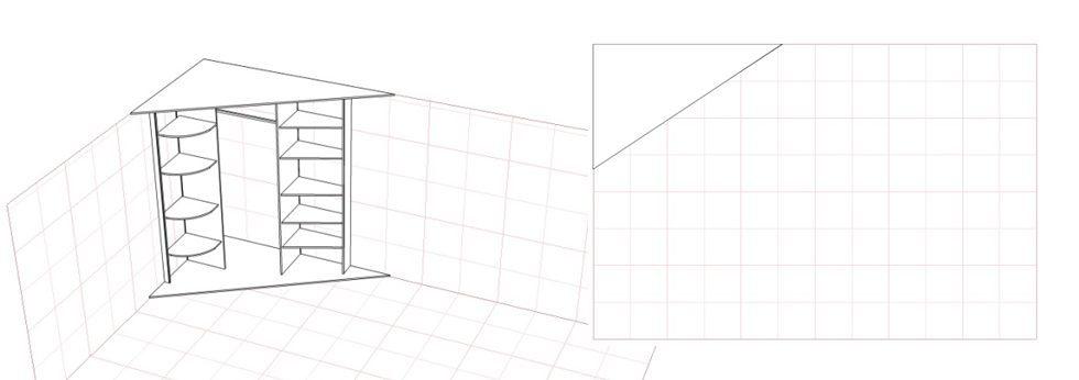 Схема углового шкафа купе без использования боковых стенок