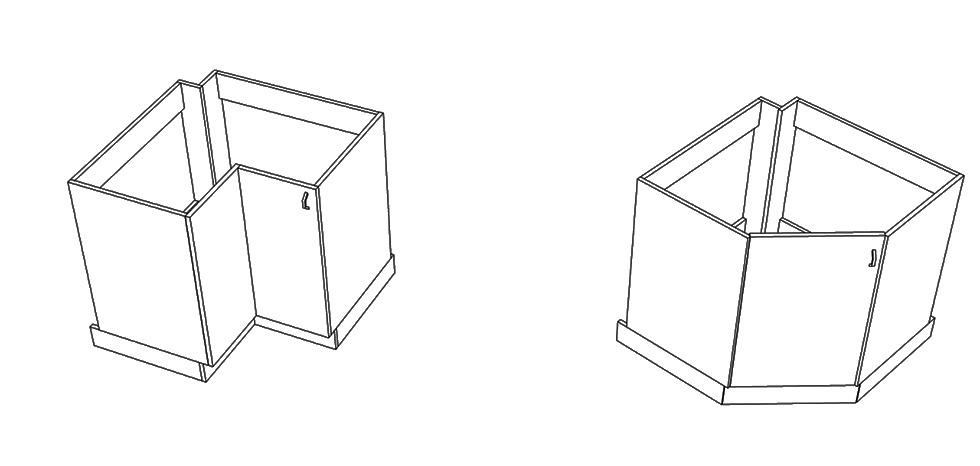 угловой элемент с прямым углом (слева) и угловой элемент диагональный (справа)